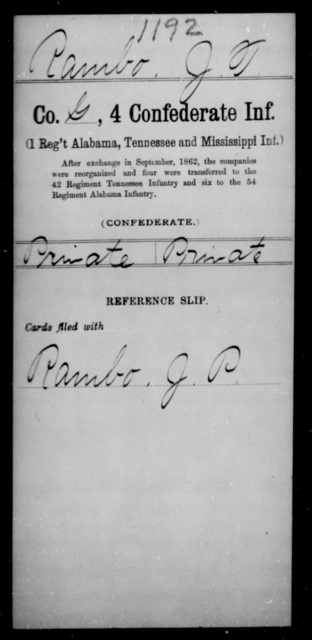Rambo, J T - Age [Blank], Year: [Blank] - Fourth Confederate Infantry, O-Y - Raised Directly by the Confederate Government