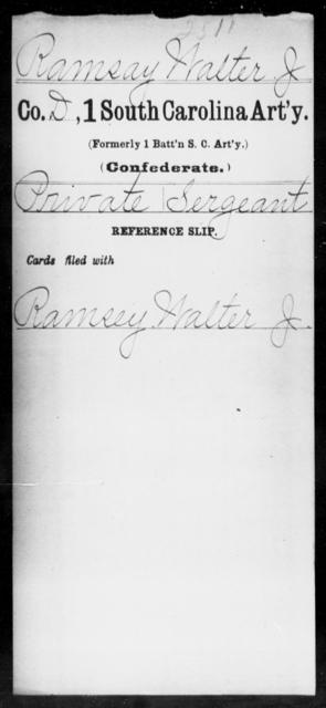 Ramsay, Walter J - Age: [Blank], Year: [BLANK] - South Carolina First Artillery Q-Sq
