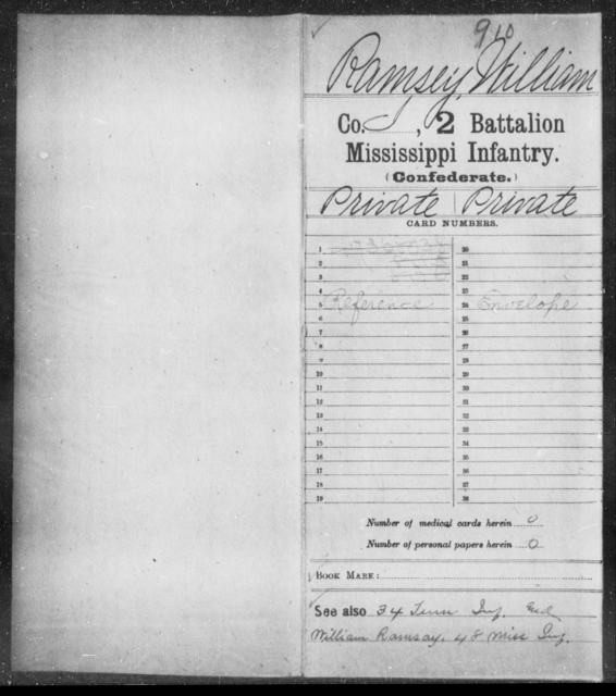 Ramsey, William - Age: [Blank], Year: [BLANK] - Mississippi Second Battalion, Infantry, R-Z AND Second (Davidson's) Infantry (Army of 10,000), A-O