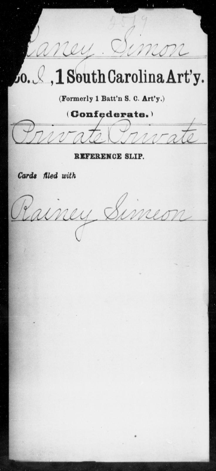 Raney, Simon - Age: [Blank], Year: [BLANK] - South Carolina First Artillery Q-Sq