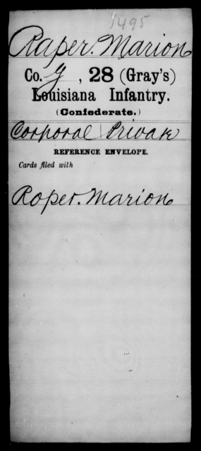 Raper, Marion - Age [Blank], Year: [Blank] - Twenty-eighth (Gray's) Infantry, Q-V - Louisiana