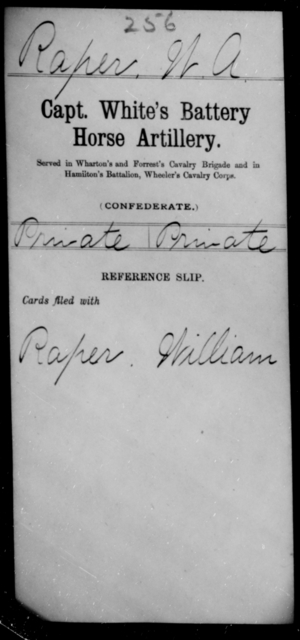 Raper, W A - Age [Blank], Year: [Blank] - Stuart's Horse Artillery AND Capt. White's Battery, Horse Artillery - Raised Directly by the Confederate Government