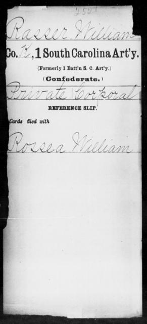 Rasser, William - Age: [Blank], Year: [BLANK] - South Carolina First Artillery Q-Sq