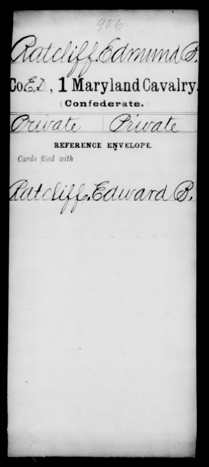 Ratcliff, Edmund P - Age [Blank], Year: [Blank] - First Cavalry, R-St - Maryland