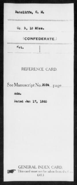 Ratcliffe, C M - Age: [Blank], Year: [BLANK] - Mississippi M, R-Sl