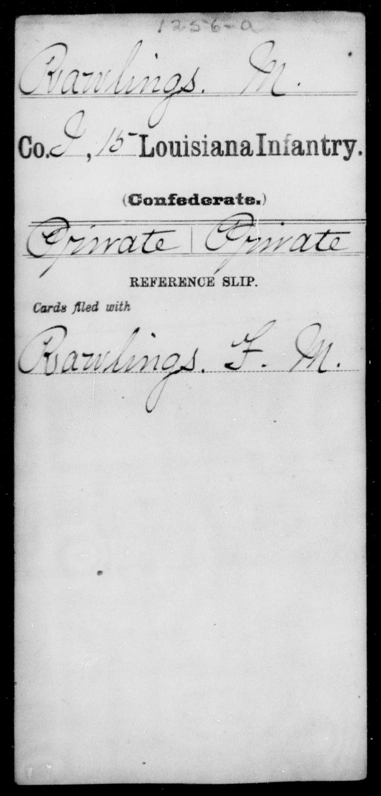Rawlings, M - Age [Blank], Year: [Blank] - Fifteenth Infantry, No - Sm - Louisiana