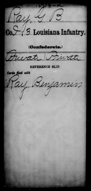 Ray, G B - Age [Blank], Year: [Blank] - Roll Military Unit, Mu - R - Louisiana