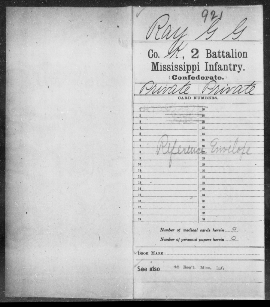 Ray, G G - Age: [Blank], Year: [BLANK] - Mississippi Second Battalion, Infantry, R-Z AND Second (Davidson's) Infantry (Army of 10,000), A-O