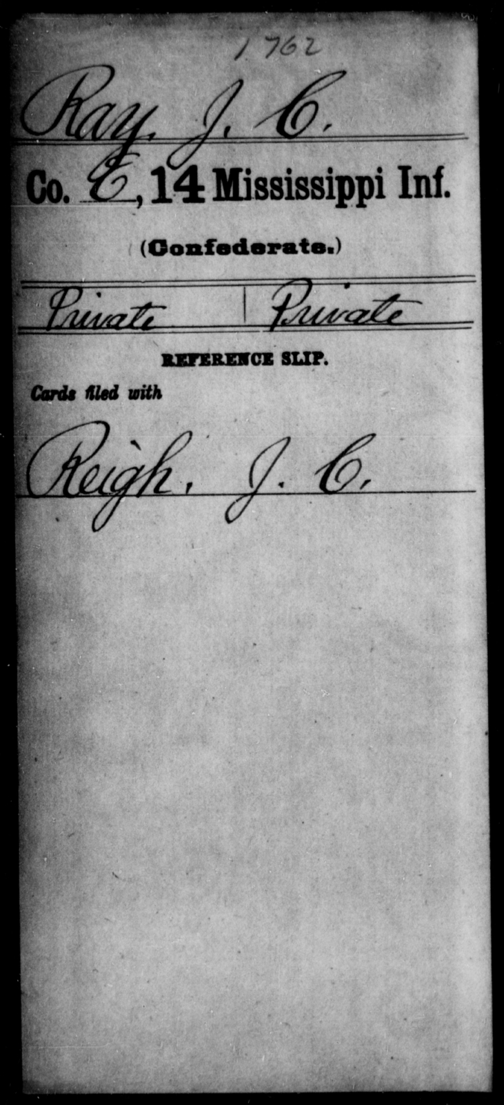 Ray, J C - Age: [Blank], Year: [BLANK] - Mississippi Fourteenth Infantry, P-Sp