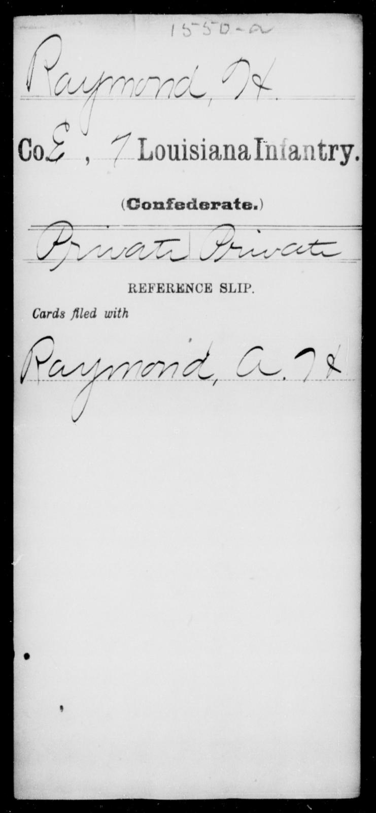 Raymond, H - Age [Blank], Year: [Blank] - Seventh Infantry, Mu - Re - Louisiana