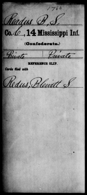 Readus, B S - Age: [Blank], Year: [BLANK] - Mississippi Fourteenth Infantry, P-Sp