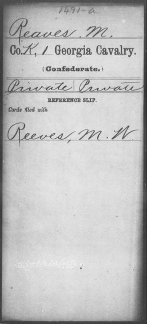Reaves, M - 1st Cavalry