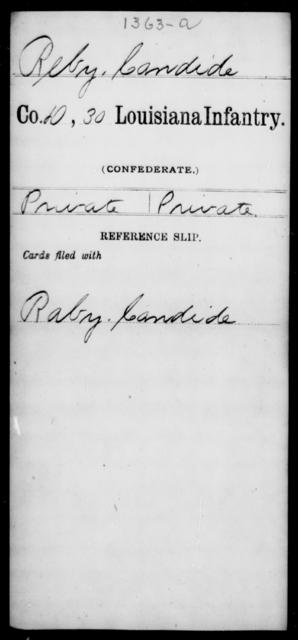 Reby, Candide - Age [Blank], Year: [Blank] - Thirtieth Infantry, N - Sa - Louisiana