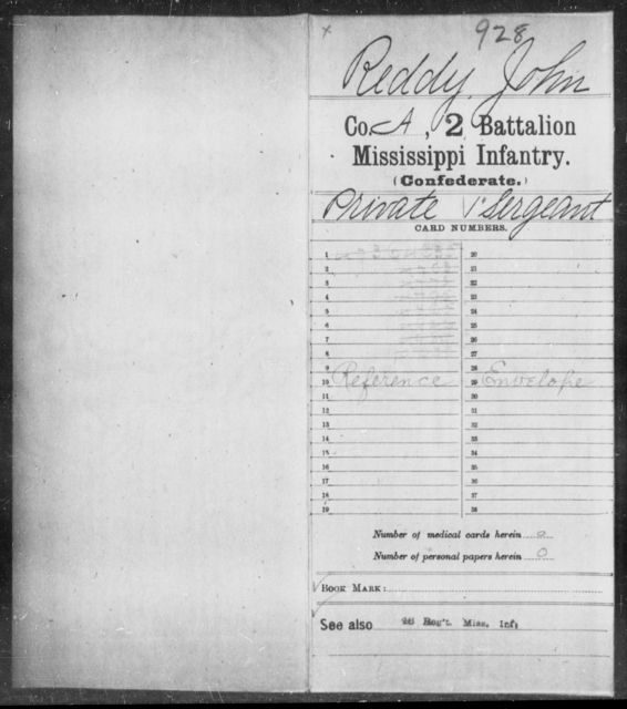 Reddy, John - Age: [Blank], Year: [BLANK] - Mississippi Second Battalion, Infantry, R-Z AND Second (Davidson's) Infantry (Army of 10,000), A-O