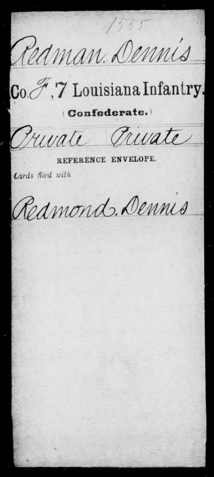 Redman, Dennis - Age [Blank], Year: [Blank] - Seventh Infantry, Mu - Re - Louisiana
