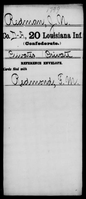 Redman, J N - Age [Blank], Year: [Blank] - Twentieth Infantry, Mu - Ro - Louisiana