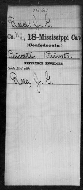 Reece, J G - Age: [Blank], Year: [BLANK] - Mississippi Eighteenth Cavalry, N-Y AND Twenty-fourth Battalion, Cavalry, A-B