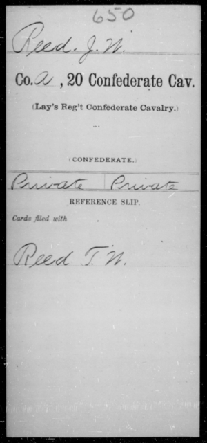 Reed, J W - Age [Blank], Year: [Blank] - Twentieth Confederate Cavalry, N-YAND Baxter's Battalion, Confederate Cavalry - Raised Directly by the Confederate Government