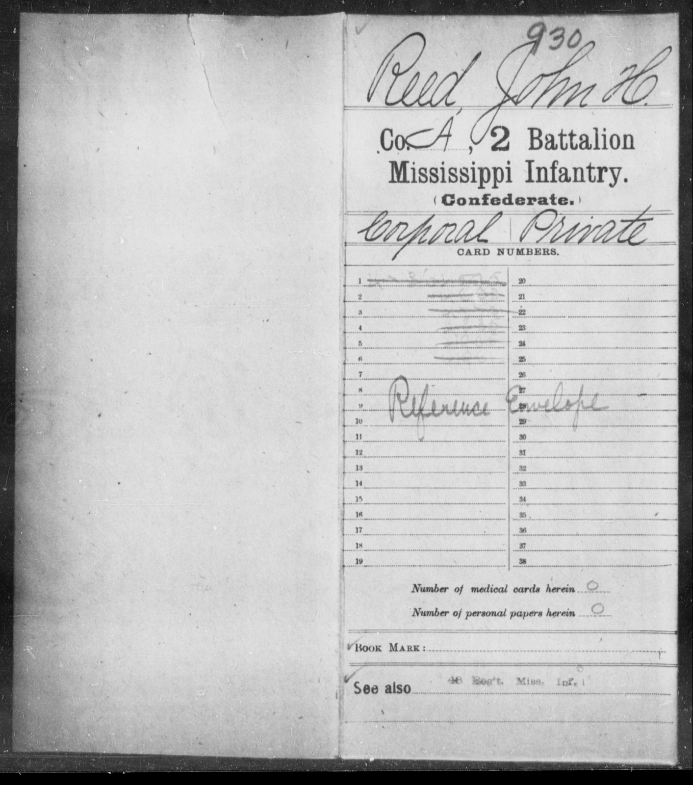 Reed, John H - Age: [Blank], Year: [BLANK] - Mississippi Second Battalion, Infantry, R-Z AND Second (Davidson's) Infantry (Army of 10,000), A-O