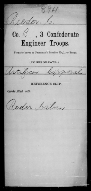 Reeder, C - Age [Blank], Year: [Blank] - Third Confederate Engineer Troops, P-Z - Raised Directly by the Confederate Government