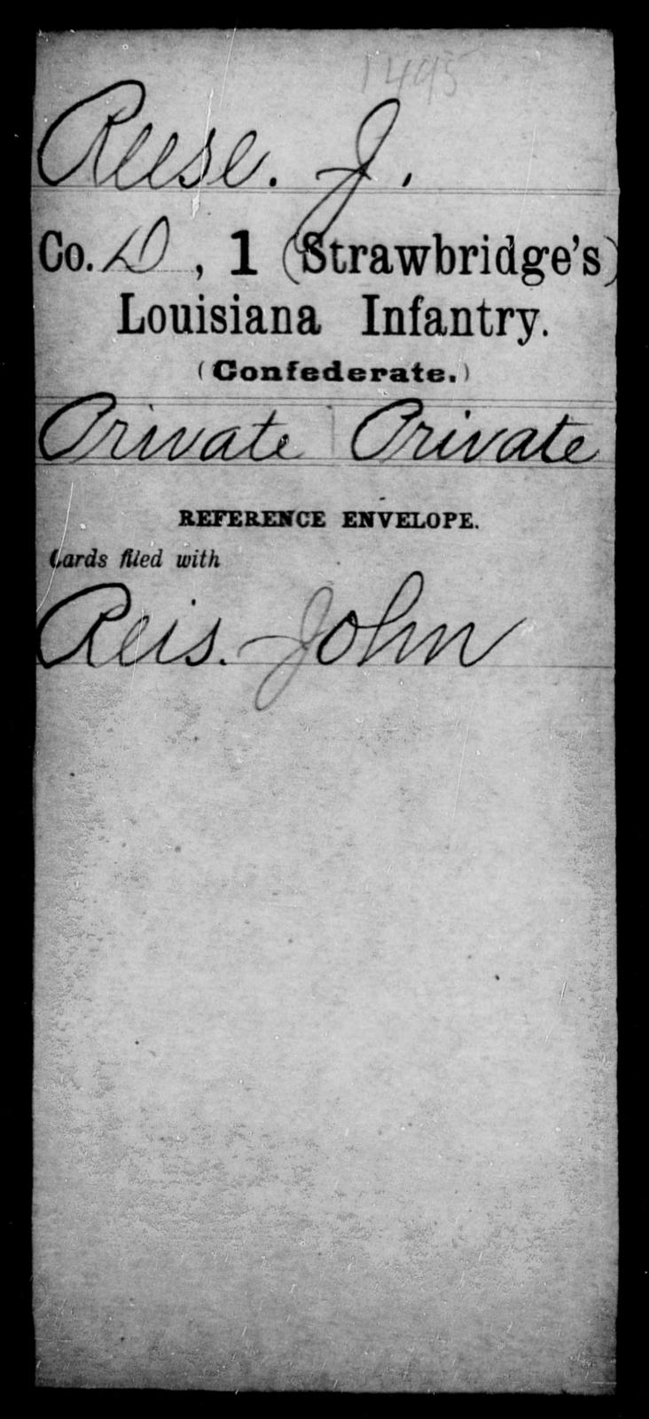 Reese, J - Age [Blank], Year: [Blank] - First (Strawbridge's) Infantry, Mo - Re - Louisiana