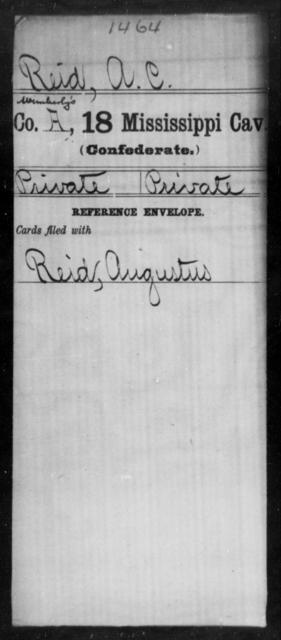 Reid, A C - Age: [Blank], Year: [BLANK] - Mississippi Eighteenth Cavalry, N-Y AND Twenty-fourth Battalion, Cavalry, A-B