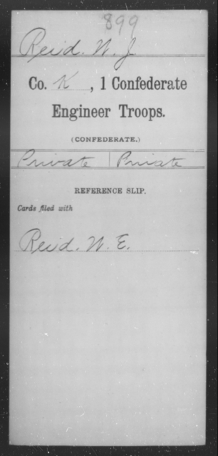 Reid, W J - Age [Blank], Year: [Blank] - First Confederate Engineer Troops, M-R - Raised Directly by the Confederate Government