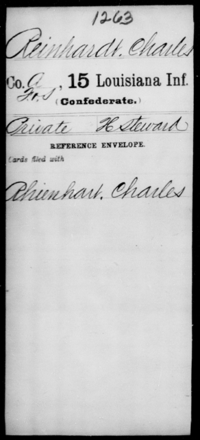 Reinhardt, Charles - Age [Blank], Year: [Blank] - Fifteenth Infantry, No - Sm - Louisiana
