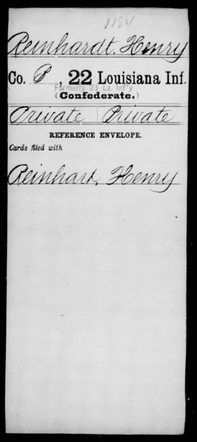 Reinhardt, Henry - Age [Blank], Year: [Blank] - Twenty-second Infantry, Mi - Se - Louisiana