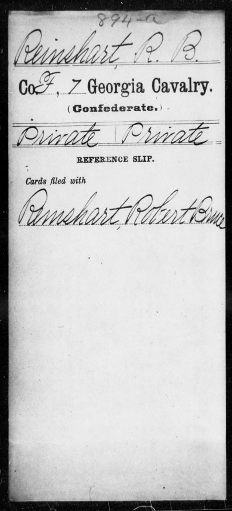 Reinshart, R B - 7th Cavalry