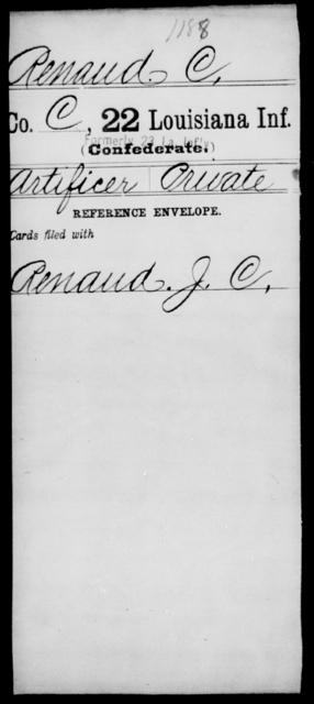 Renaud, C - Age [Blank], Year: [Blank] - Twenty-second Infantry, Mi - Se - Louisiana