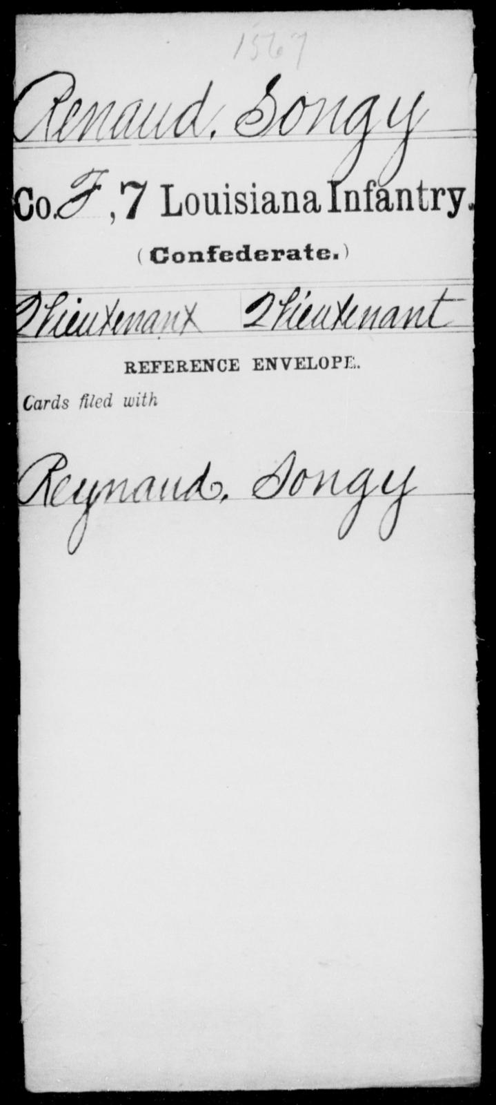 Renaud, Songy - Age [Blank], Year: [Blank] - Seventh Infantry, Mu - Re - Louisiana