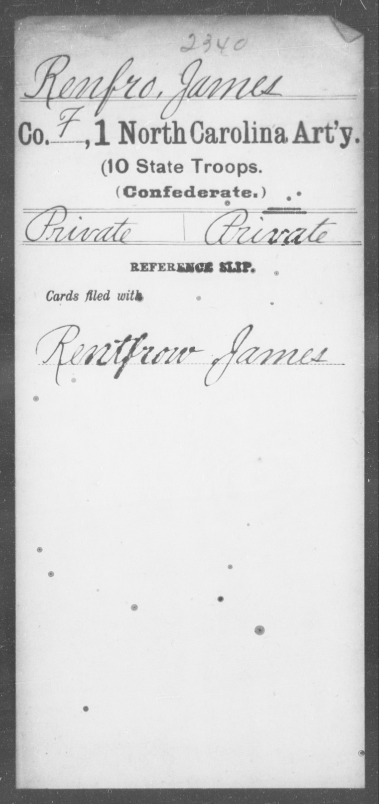 Renfro, James - First Artillery (10th State Troops)