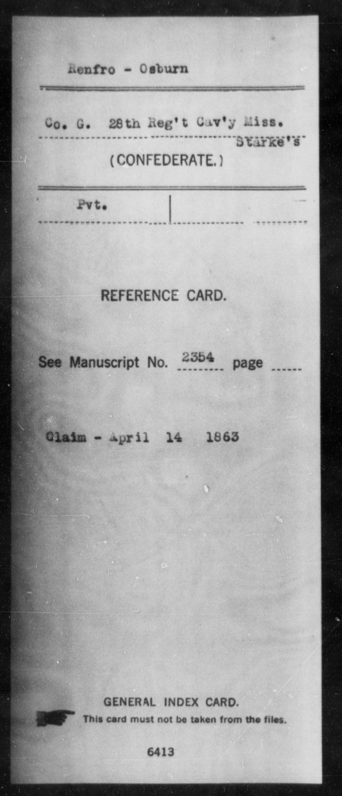 Renfro, Osburn - Age: [Blank], Year: [BLANK] - Mississippi Twenty-eighth Cavalry, R-S1