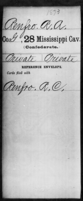 Renfro, R A - Age: [Blank], Year: [BLANK] - Mississippi Twenty-eighth Cavalry, R-S1
