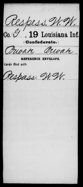 Respess, W W - Age [Blank], Year: [Blank] - Nineteenth Infantry, Ph - Sn - Louisiana