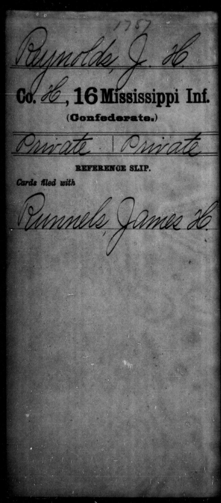 Reynolds, J H - Age: [Blank], Year: [BLANK] - Mississippi Sixteenth Infantry, A, N-Ri