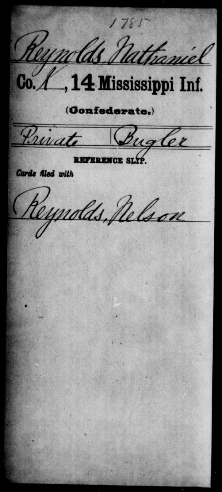 Reynolds, Nathaniel - Age: [Blank], Year: [BLANK] - Mississippi Fourteenth Infantry, P-Sp