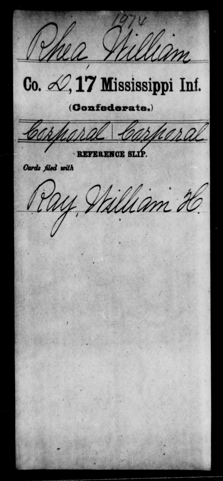 Rhea, William - Age: [Blank], Year: [BLANK] - Mississippi Seventeenth Infantry, Pe-R