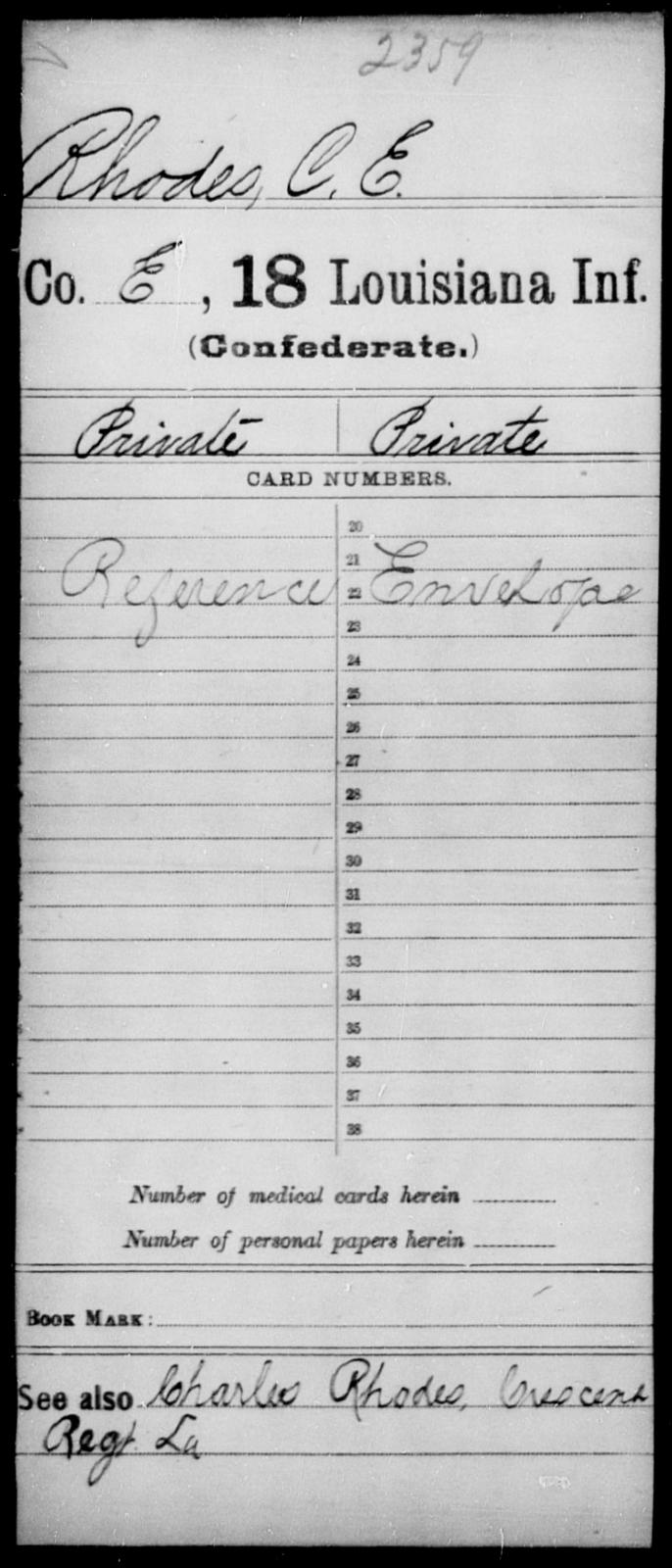 Rhodes, C E - Age [Blank], Year: [Blank] - Eighteenth Infantry, PI - Sh - Louisiana
