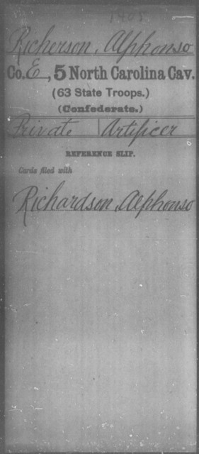 Richerson, Alphonso - Fifth Cavalry (63d State Troops)
