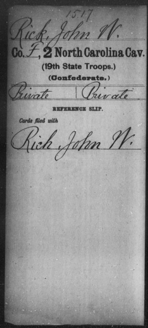 Rick, John W - Second Cavalry (19th State Troops)