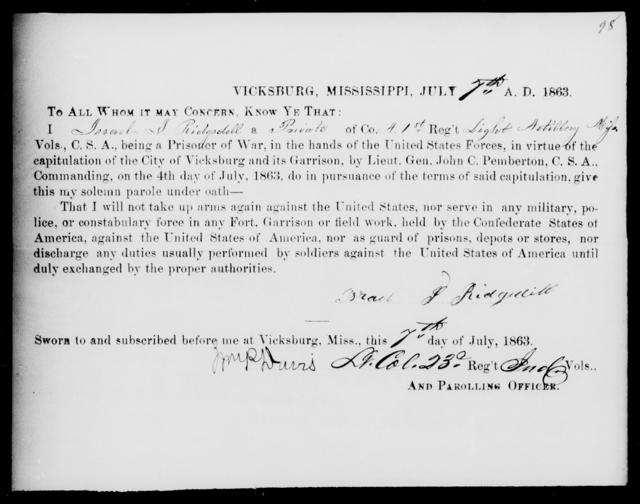 Ridgedell, Israel J - Age: [Blank], Year: 1863 - Mississippi First Light Artillery, Pr-Si