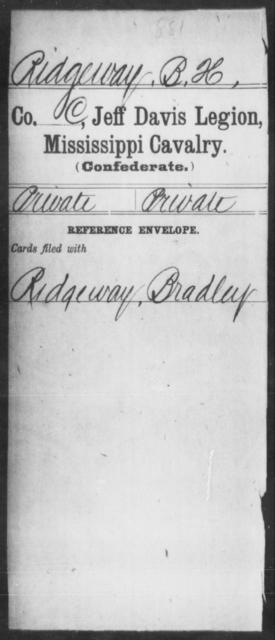 Ridgeway, B H - Age: [Blank], Year: [BLANK] - Mississippi Jeff Davis Legion, Cavalry, N-Sp
