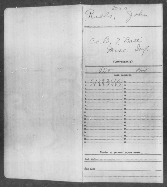 Riels, John - Age: [Blank], Year: 1865 - Mississippi Seventh Battalion, Infantry, P-Y