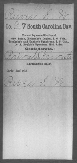 Rieves, S W - Age: [Blank], Year: [BLANK] - South Carolina Seventh Cavalry M-S1