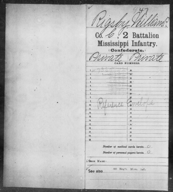 Rigsby, William R - Age: [Blank], Year: [BLANK] - Mississippi Second Battalion, Infantry, R-Z AND Second (Davidson's) Infantry (Army of 10,000), A-O