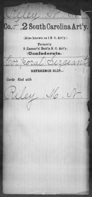 Riley, N M - Age: [Blank], Year: [BLANK] - South Carolina Second Artillery R-Se