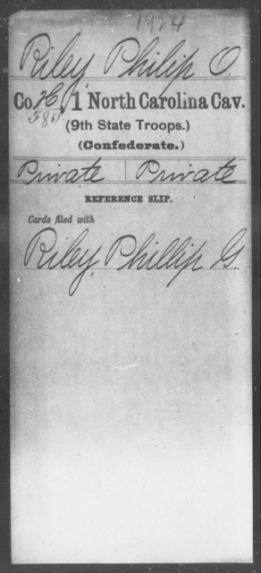 Riley, Philip O - First Cavalry (Ninth State Troops)