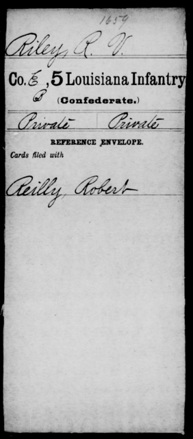 Riley, R V - Age [Blank], Year: [Blank] - Roll Military Unit, R - Sh - Louisiana